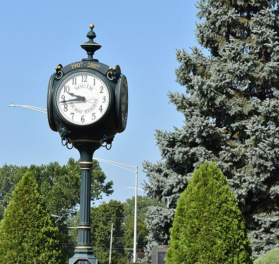 a clock at the South Chicago Heights Veteran Memorial